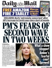 Daily Mail front page for 29 July 2020