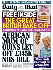 Daily Mail (UK) Newspaper Front Page for 29 August 2015