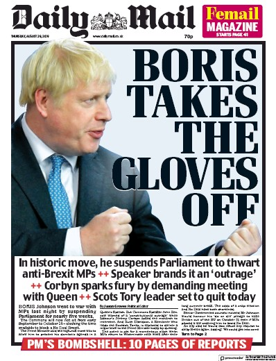 Daily Mail Newspaper Front Page (UK) for 29 August 2019