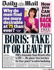 Daily Mail (UK) Newspaper Front Page for 2 October 2019