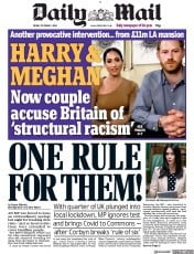 Daily Mail front page for 2 October 2020