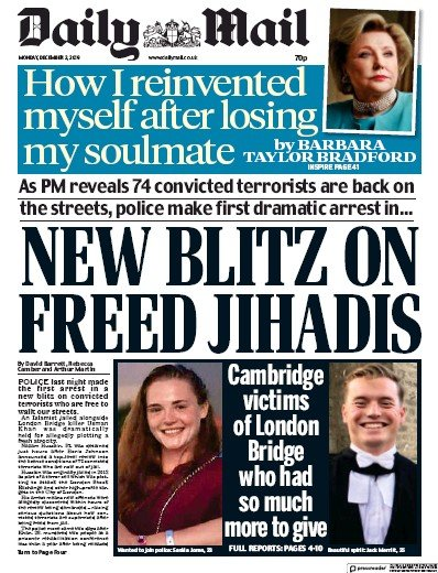 Daily Mail Newspaper Front Page (UK) for 2 December 2019