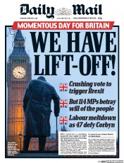 Daily Mail (UK) Newspaper Front Page for 2 February 2017