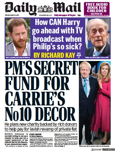 Daily Mail Newspaper Front Page (UK) for 2 March 2021
