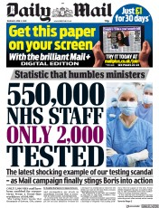 Daily Mail front page for 2 April 2020