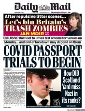 Daily Mail (UK) Newspaper Front Page for 2 April 2021