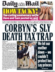 Daily Mail (UK) Newspaper Front Page for 2 June 2017