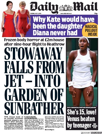 Daily Mail Newspaper Front Page (UK) for 2 July 2019