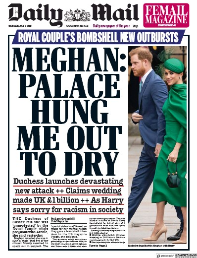 Daily Mail Newspaper Front Page (UK) for 2 July 2020