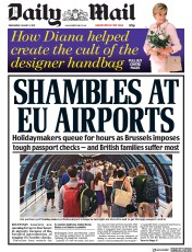 Daily Mail (UK) Newspaper Front Page for 2 August 2017