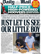 Daily Mail (UK) Newspaper Front Page for 2 September 2014