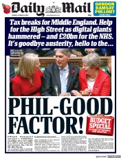 Daily Mail (UK) Newspaper Front Page for 30 October 2018