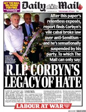 Daily Mail front page for 30 October 2020