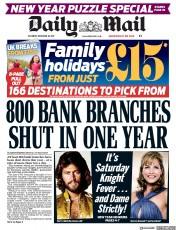 Daily Mail (UK) Newspaper Front Page for 30 December 2017
