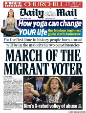Daily Mail (UK) Newspaper Front Page for 30 January 2015