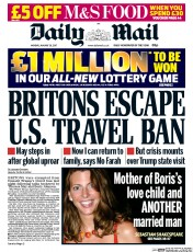 Daily Mail (UK) Newspaper Front Page for 30 January 2017