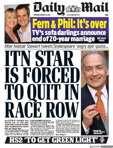 Daily Mail Newspaper Front Page (UK) for 30 January 2020
