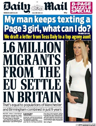 Daily Mail (UK) Front Page for 30 March 2016   Paperboy ... Daily Mail Uk