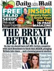 Daily Mail (UK) Newspaper Front Page for 30 March 2019