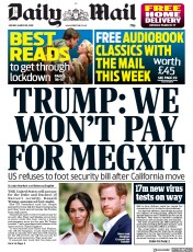 Daily Mail front page for 30 March 2020