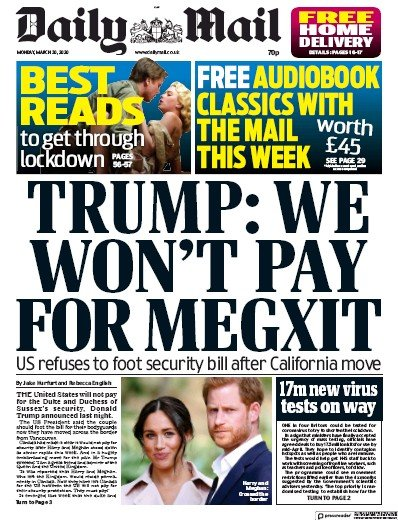 Daily Mail Newspaper Front Page (UK) for 30 March 2020