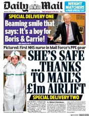 Daily Mail (UK) Newspaper Front Page for 30 April 2020