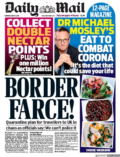Daily Mail Newspaper Front Page (UK) for 30 May 2020