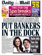 Daily Mail Newspaper Front Page (UK) for 30 June 2012