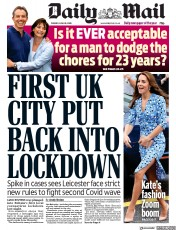 Daily Mail front page for 30 June 2020