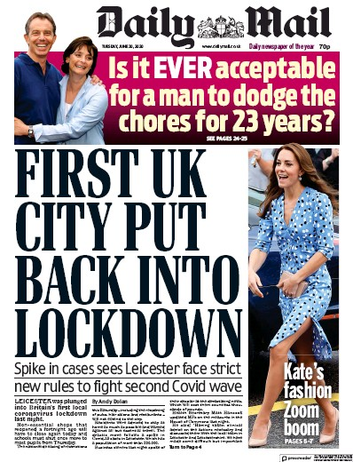 Daily Mail Newspaper Front Page (UK) for 30 June 2020