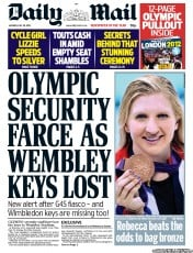 Daily Mail Newspaper Front Page (UK) for 30 July 2012