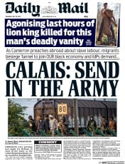 Daily Mail (UK) Newspaper Front Page for 30 July 2015