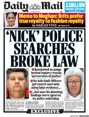 Daily Mail (UK) Newspaper Front Page for 30 July 2019