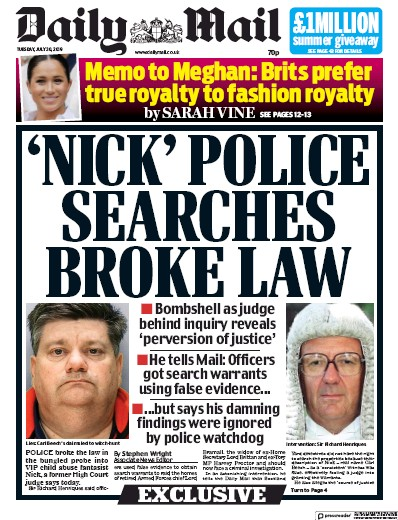 Daily Mail Newspaper Front Page (UK) for 30 July 2019