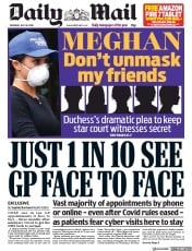 Daily Mail front page for 30 July 2020