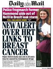 Daily Mail (UK) Newspaper Front Page for 30 August 2019