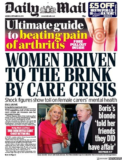 Daily Mail Newspaper Front Page (UK) for 30 September 2019