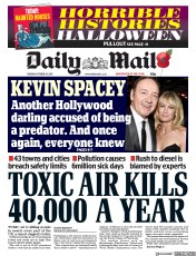 Daily Mail (UK) Newspaper Front Page for 31 October 2017