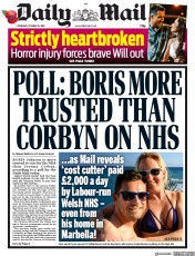 Daily Mail (UK) Newspaper Front Page for 31 October 2019