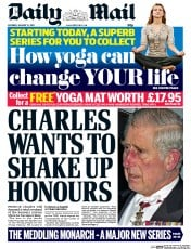 Daily Mail (UK) Newspaper Front Page for 31 January 2015
