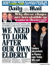 Daily Mail (UK) Newspaper Front Page for 31 January 2017