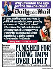 Daily Mail (UK) Newspaper Front Page for 31 January 2018