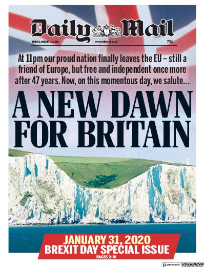 Daily Mail Newspaper Front Page (UK) for 31 January 2020