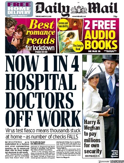 Daily Mail Newspaper Front Page (UK) for 31 March 2020