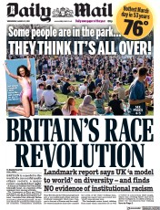 Daily Mail front page for 31 March 2021