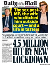 Daily Mail (UK) Newspaper Front Page for 31 July 2020
