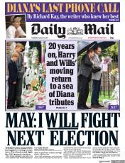 Daily Mail (UK) Newspaper Front Page for 31 August 2017