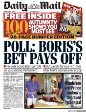 Daily Mail () Newspaper Front Page for 31 August 2019