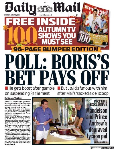 Daily Mail Newspaper Front Page (UK) for 31 August 2019