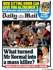 Daily Mail (UK) Newspaper Front Page for 3 October 2017